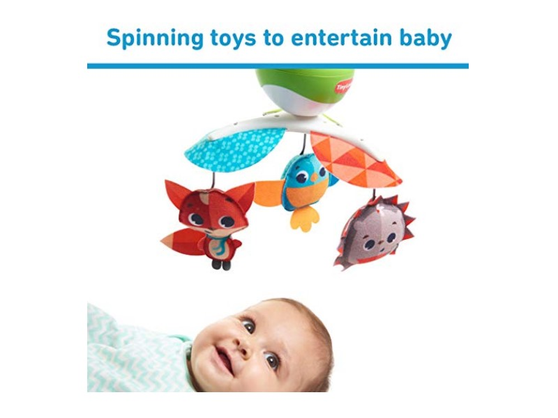 The Tiny Love Meadow Days Take Along Mobile features spinning toys.