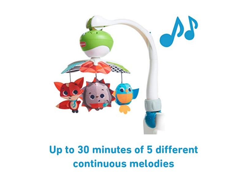 The Tiny Love Meadow Days Take Along Mobile has 5 continuous melodies.