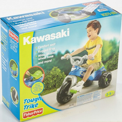 fisher-price kawasaki tough trike big wheels for kids box