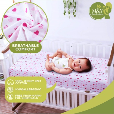 M & Y fitted 3-Pack crib sheet breathable
