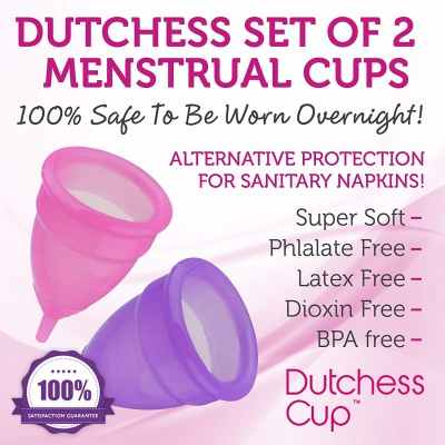 dutchess set of 2 menstrual cups overnight