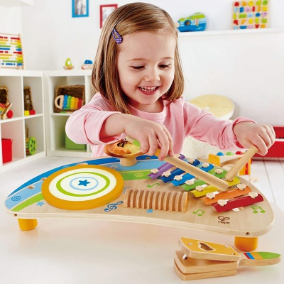 hape mighty mini band wooden drum set for kids and toddlers model
