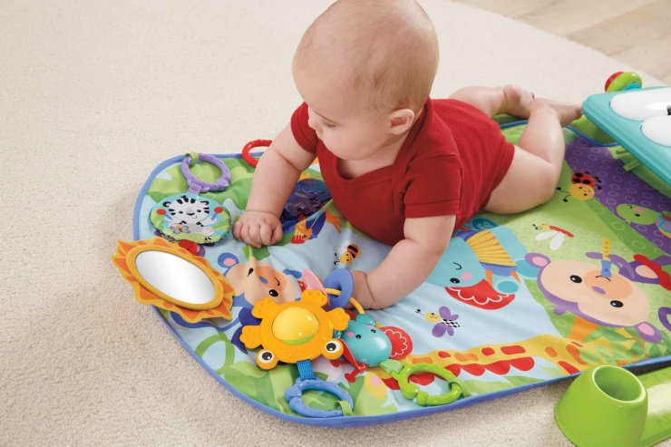 There are four ways to play with the Fisher-Price Kick 'n Play Piano Gym.