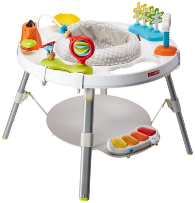 The Skip Hop Explore and More Baby Activity Center is made of polyester.