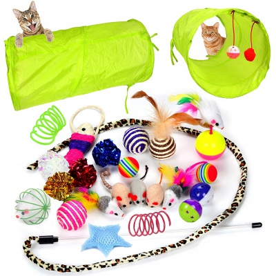 youngever 24 feather teaser cat toy set