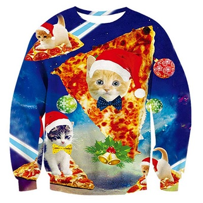 alistyle fanient christmas sweater pizza cat