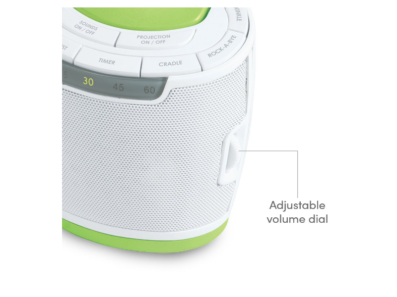 MyBaby SoundSpa features an adjustable volume perfect for the sleeping baby.