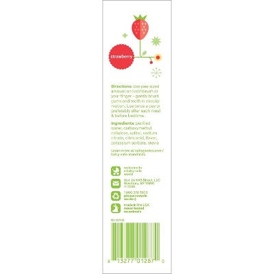babyganics fluoride free strawberry toddler toothpaste back