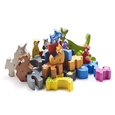 begin again animal parade A to Z wooden puzzles shapes