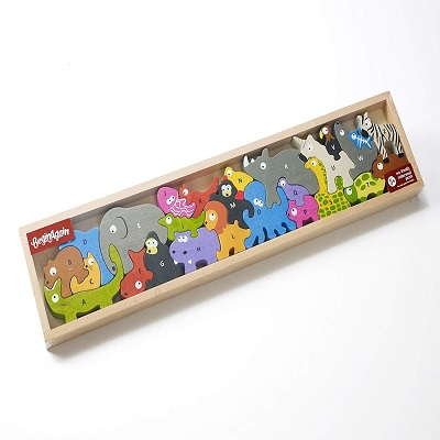 begin again animal parade A to Z wooden puzzles box