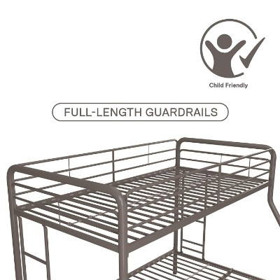 DHP twin-over-full metal frame bunk and loft bed for kids guardrails