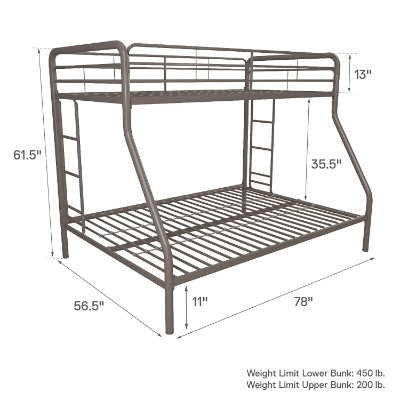 DHP twin-over-full metal frame bunk and loft bed for kids measurements