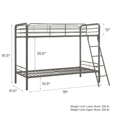 DHP twin-over-twin metal bunk and loft beds for kids measurements