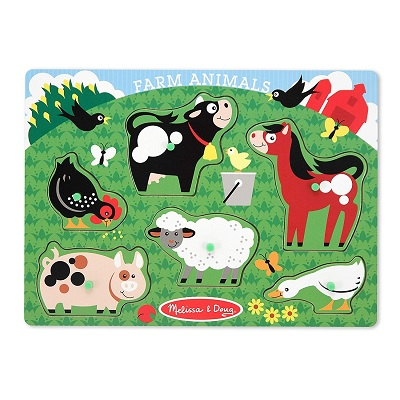 melissa & doug peg set wooden puzzle farm pieces
