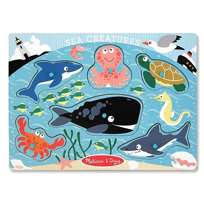melissa & doug peg set wooden puzzle sea design