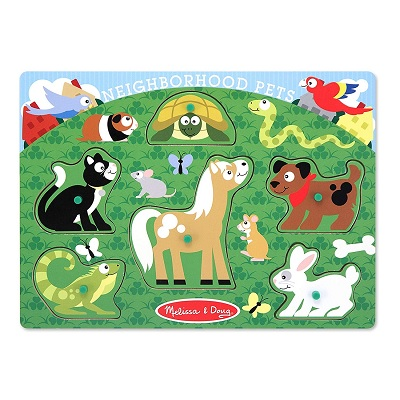melissa & doug peg set wooden puzzle pets design