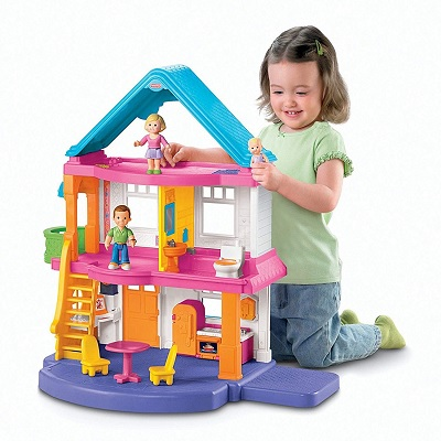 fisher-price my first dollhouse kid playing