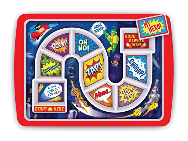 The Fred DINNER WINNER Kids' Dinner Tray can turn mealtime into a game.