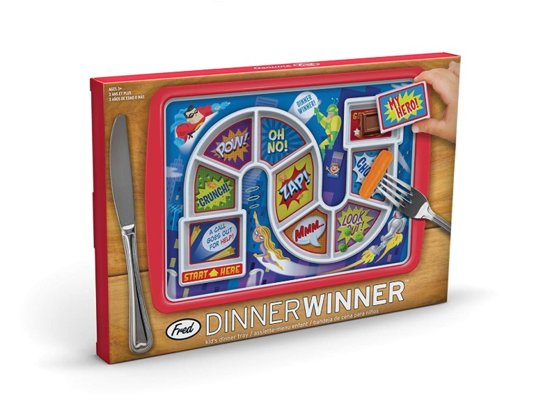 The Fred DINNER WINNER Kids' Dinner Tray is divided into 8 portions.