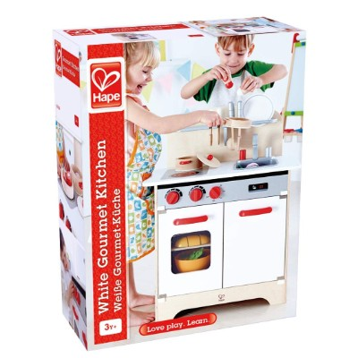 hape gourmet wooden play kitchen for kids and toddlers package