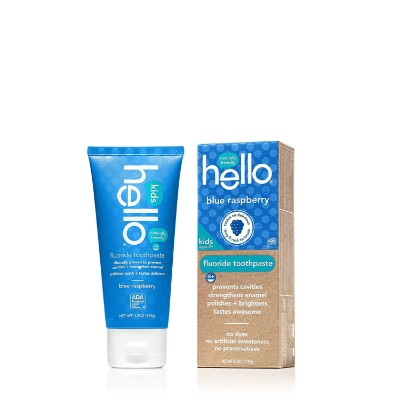 hello oral care fluoride blue raspberry toddler toothpaste pack