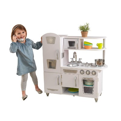 kidKraft vintage white play kitchen for kids and toddlers roleplay