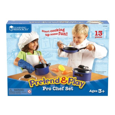 learning resources pro chef set pretend play toy for kids box
