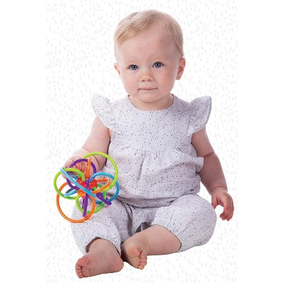 manhattan winkel rattle & teether sensory toy for toddlers play