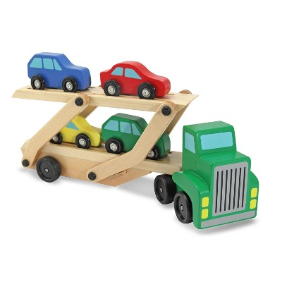 car carrier truck and cars wooden toys for kids and toddlers display
