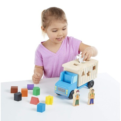 melissa & doug shape-sorting dump truck wooden toy for kids and toddlers playing
