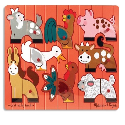 melissa & doug mix 'n match wooden puzzle farm