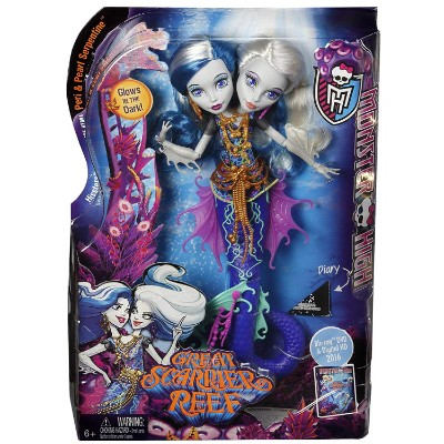 scarrier reef peri & pearl serpintine new monster high dolls packaging