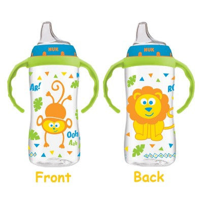 NUK jungle designs large learner sippy cup for toddlers front and back