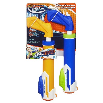 super soaker tidal tube blaster 2-pack water toy for kids package