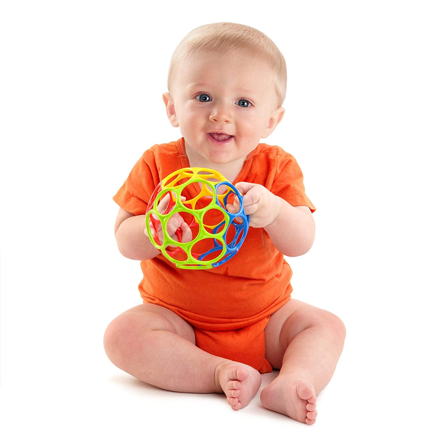 The OBall Toy is just the perfect size for the baby's hands.