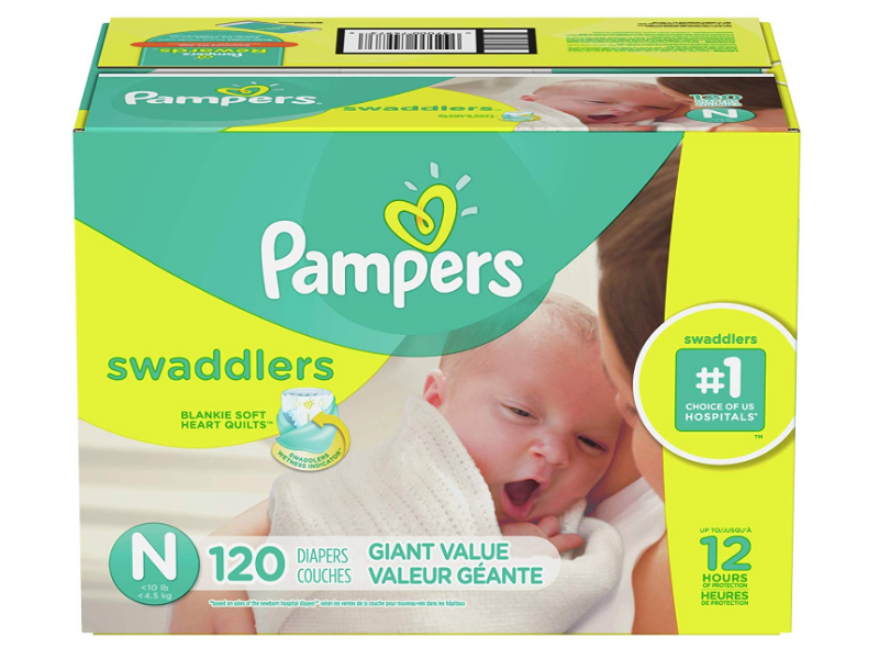 Pampers Swaddlers Disposable Diapers are hypoallergenic and safe for the baby.