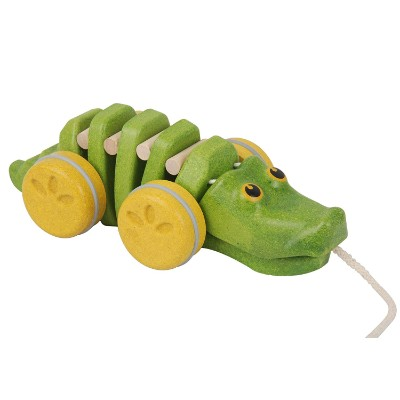 plan toys dancing alligator wooden toys for kids and toddlers side view