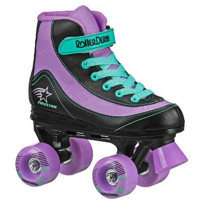 roller derby 1978-01 firestar roller skates for kids purple and black