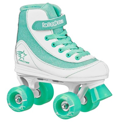 roller derby 1978-01 firestar roller skates for kids green and white