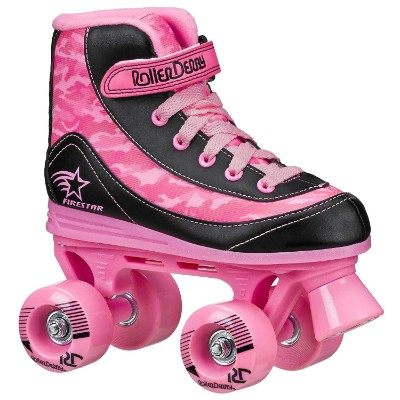 roller derby 1978-01 firestar roller skates for kids pink and black