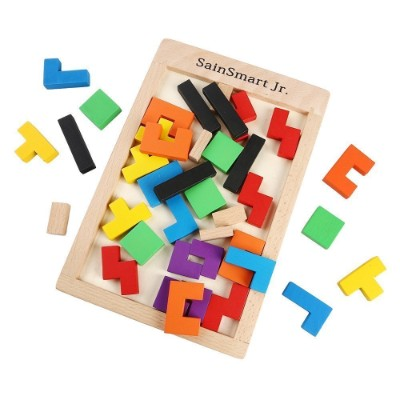 sainSmart jr. tetris puzzle wooden toys for kids and toddlers pieces