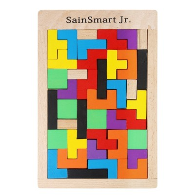 sainSmart jr. tetris puzzle wooden toys for kids and toddlers assembled