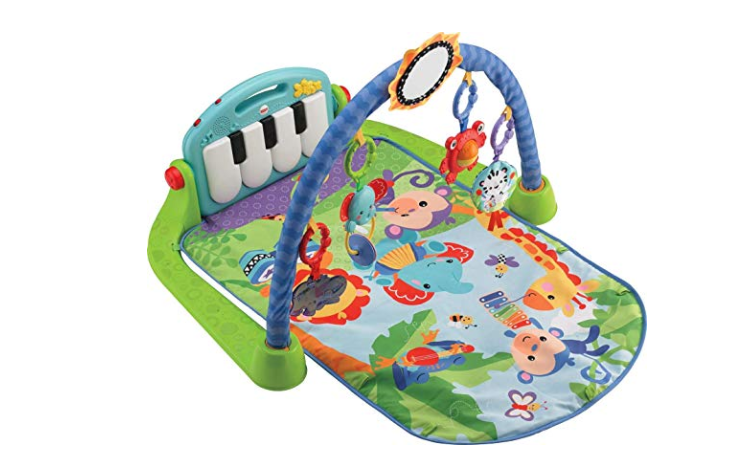 The Fisher-Price Kick 'n Play Piano Gym is 100% polyester.