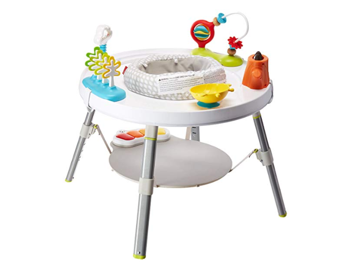The Skip Hop Explore and More Baby Activity Center includes 4 movable toys.