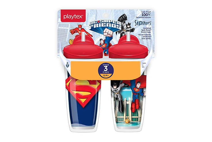 The Playtex Sipsters Stage 3 Super Friends have great graphics.