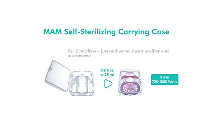 The MAM Newborn Pacifier comes with a carrying case.