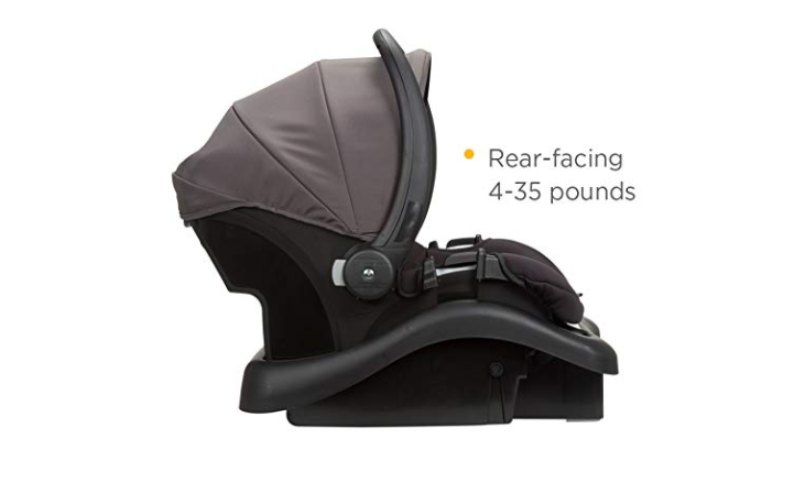 The Safety 1st Smooth Ride Travel System with onBoard 35 Infant Car Seat is rear facing.