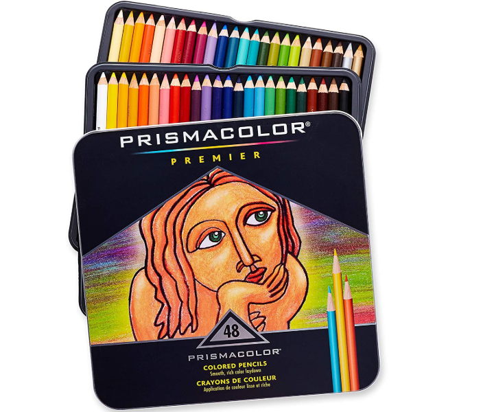 The prismacolor premier colored pencils are packed in a durable tin box.