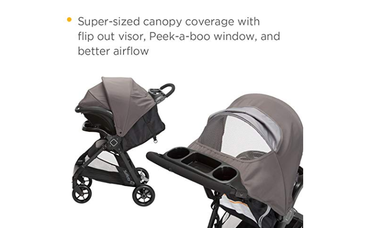 The Safety 1st Smooth Ride Travel System with onBoard 35 Infant Car Seat features a peek-a-boo window.