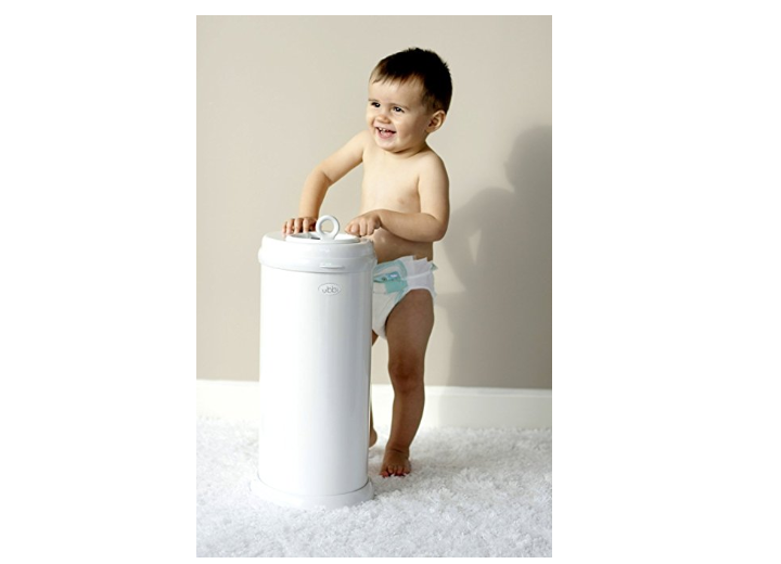 The Ubbi Diaper Pail features a childproof lock.